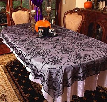Awtlife tovaglia in pizzo in stile tela di ragno, gotica, per decorazioni di Halloween, 122 x 244 cm - 2