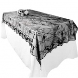 Awtlife tovaglia in pizzo in stile tela di ragno, gotica, per decorazioni di Halloween, 122 x 244 cm - 1