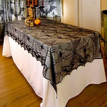 Awtlife tovaglia in pizzo in stile tela di ragno, gotica, per decorazioni di Halloween, 122 x 244 cm - 3