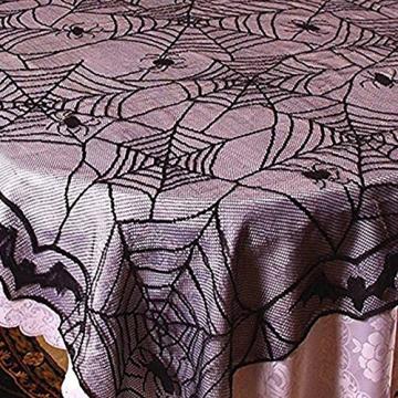 Awtlife tovaglia in pizzo in stile tela di ragno, gotica, per decorazioni di Halloween, 122 x 244 cm - 6
