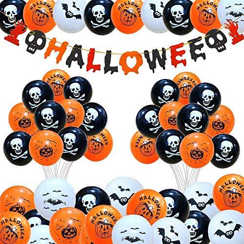 Caiery 50 PCS Decorazione Halloween Palloncini in Lattice & Happy Halloween Banner di Halloween Palloncino Decorativo per Feste per Rifornimenti del Partito di Halloween del Festival Fantasma - 1