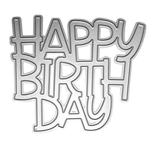 Demiawaking Happy Birthday Fustelle per Scrapbooking Stencil Cutting Dies DIY Scrapbooking Album Foto Segnalibro Goffratura Artigianato per Biglietti di Auguri Carta - 1