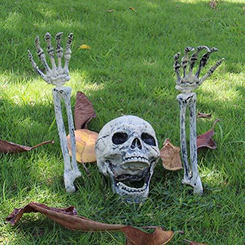 EqWong Decorazione di Halloween, 3 Pezzi Scheletro Realistico Inserimento Halloween Horror Sepolto Scheletro Vivo Cranio Decorazioni per Uso del Prato Giardino Decorazione del Cortile - 1