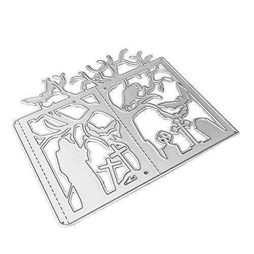 Fustelle in metallo a forma di albero di Halloween, per progetti fai da te, scrapbooking, album, carta, biglietti, goffratura - 1