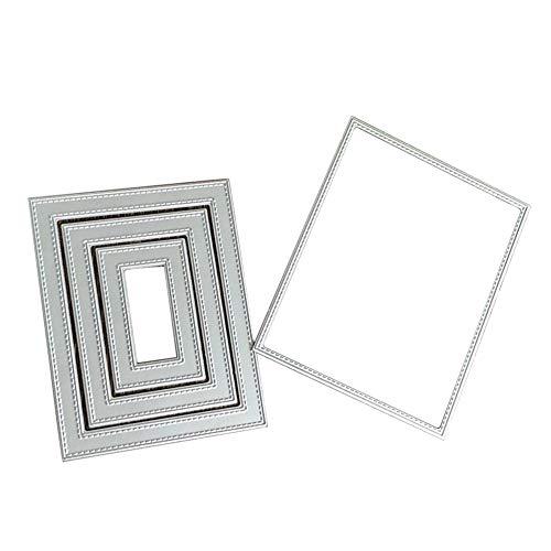 Fustelle rettangolari in metallo cucito, per scrapbooking, biglietti, album fotografici, Silver, taglia unica - 1