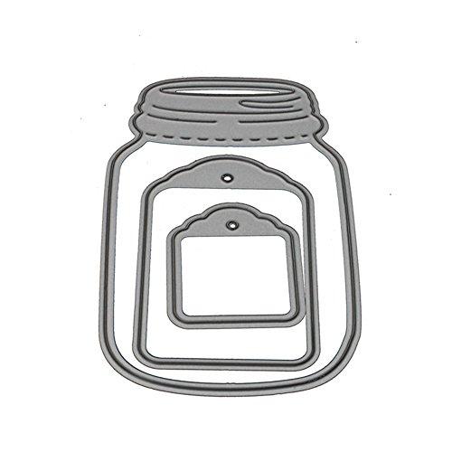 Geshiglobal - Fustelle da taglio per barattoli, scrapbooking, fai da te, confezione da 3 Silver - 1