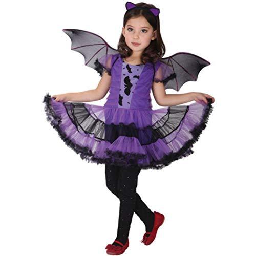 Homebaby - Bambino Abito Da Festa + Capello + Bat Ala Vestito Completi Bambini Ragazze Costume Di Halloween Abbigliamento Costume Partito Vestito Tuta Regalo - 1