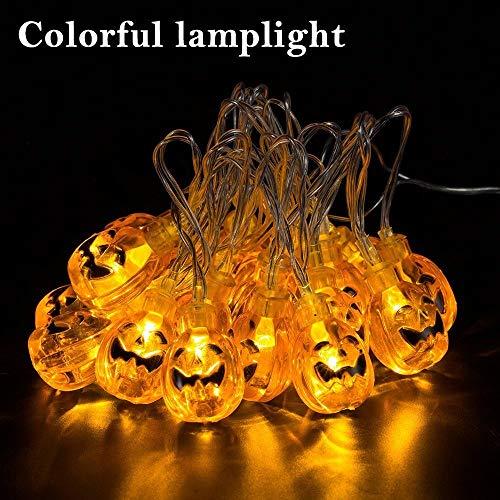 Itian Striscia da 2m con 20 Luci LED a Forma di Zucche 3D Arancioni Alimentate a Batteria per Decorazioni di Halloween - 1
