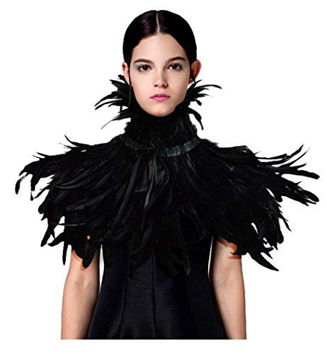 keland Costume di Halloween con Colletto di Piume e Scialli in Stile Gotico (nero-01) - 1