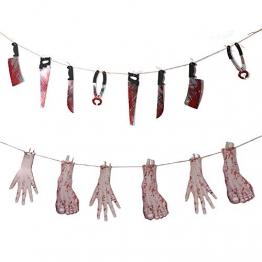 kungfu Mall 1 PC Ghirlanda di tortura di Halloween e 1PC Ghirlanda Gory per Bar Decorazioni per la casa stregata Bandiera del terrore - 1