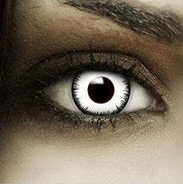 """Lenti a contatto colorate""""Vampiro"""" + capsule di sangue finto + portalenti per FXCONTACTS bianche, morbide, non corrette, in confezione da due: comode da indossare e ideali per Halloween o Carnevale - 1"""