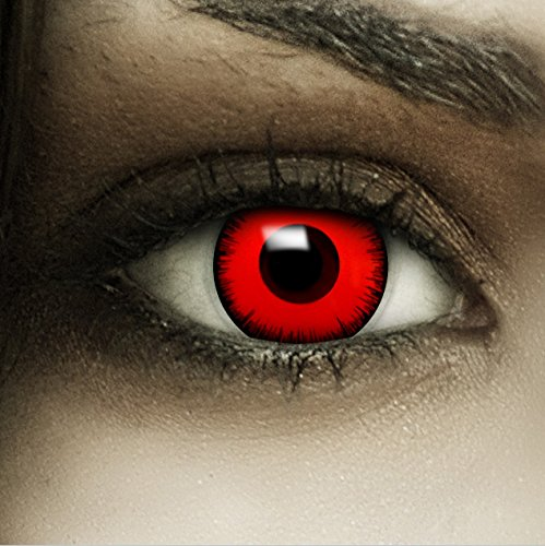"""Lenti a contatto colorate""""Volturi"""" + capsule di sangue finto + portalenti per FXCONTACTS rosso, morbide, non corrette, in confezione da due: comode da indossare e ideali per Halloween o Carnevale - 1"""