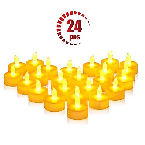 Natale Capodanno Candele LED Lumini 24 Pz, OMORC Candele senza Fiamma LED Luce Gialla Calda, 100 Ore Lunga Durata della Batteria, per Decorazione di Casa Camera Natale Partito Matrimoni Compleanno - 1