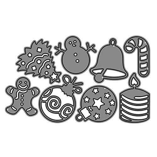P12cheng Fustelle Metallo Stenci,Palla di Natale Bell Tree Die Cuts Stencil per DIY Scrapbooking Carte di Carta Craft Emboss Xmas Card Artigianato Decor Silver - 1