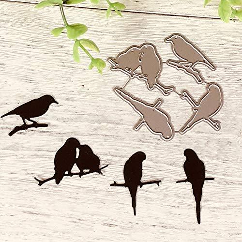 quanjucheer - Fustelle a forma di cerchio, per fai da te, scrapbooking, album fotografici, cartoline, stencil Branch Bird - 1