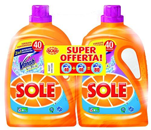 Sole con Vanish, Detersivo per Lavatrice Liquido, 2 Confezioni da 40 Lavaggi - 1