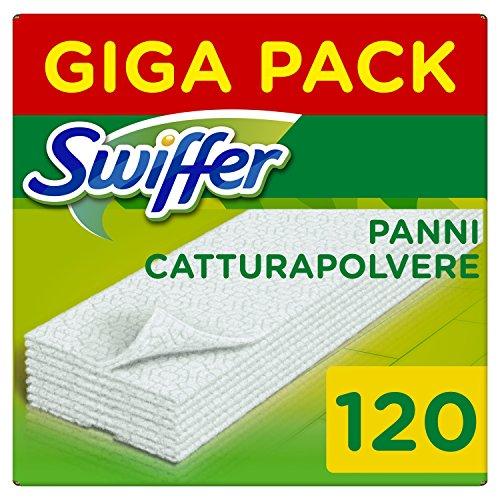 Swiffer Panni di Ricambio per Scopa 120 Pezzi, per Catturare e Intrappolare 3 Volte più Polvere, Sporco e Peli di una Scopa Tradizionale - 1