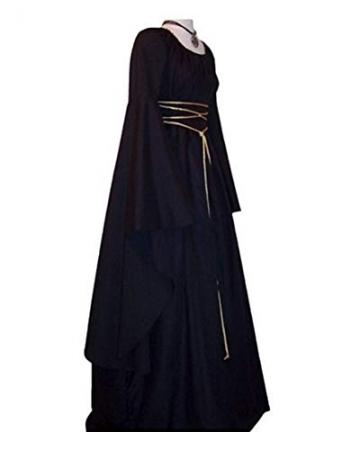 Vestito Vestito Cosplay Medievale Da Donna Abito Lungo Retrò Costume Di Halloween Nero M - 2