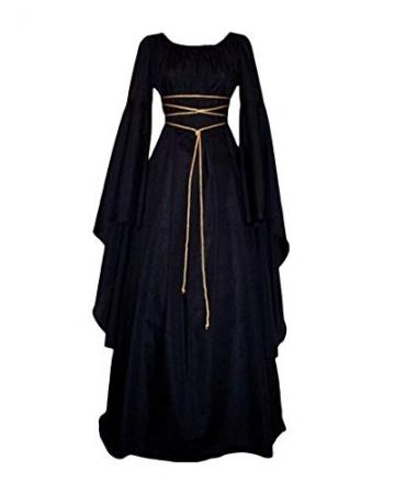 Vestito Vestito Cosplay Medievale Da Donna Abito Lungo Retrò Costume Di Halloween Nero M - 1