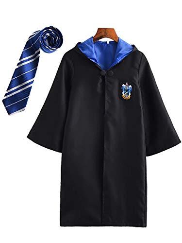 YONIER Costume per Adulti per Bambini Costume di Harry Potter Mantello Articoli per Set di cinematografici Bacchetta Magica Cravatta Sciarpa Occhiali Carnevale Fancy Dress Halloween Nero Big Size - 1
