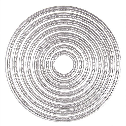 8PCS Fustelle Stencil Cutting Dies, U-horizon Matrici di taglio Cercle per DIY scrapbooking, album fotografico, carta decorativa, fai da te, regalo (Cerchio) - 1