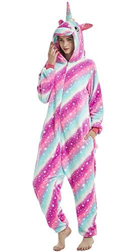 Adulto e Bambino Unisex Unicorno Tigre Leone Volpe Tutina Animale Cosplay Pigiama Costume di Carnevale di Halloween Fancy Dress Loungewear (Unicorn Star-Sky, M Altezza di 155-165 cm) - 1