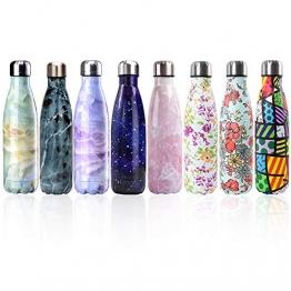 Bottiglia con doppio strato in acciaio inox,portatile BPA free bottle,viaggio per sport senza perdite costruita per non far formare condensa puoi bere sia bevande calde che fredde 17oz,Purple Flower - 1