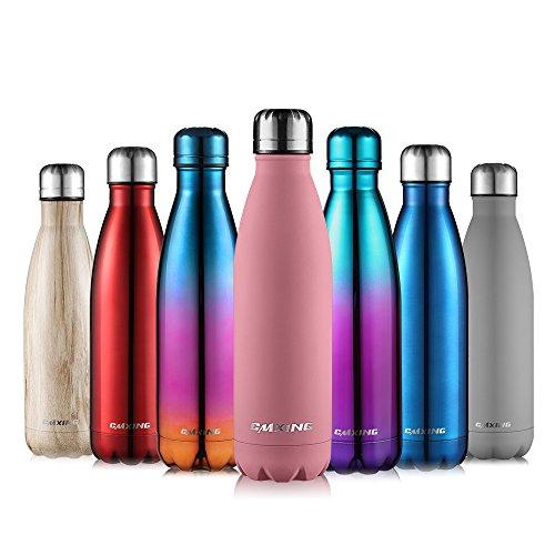 CMXING Bottiglia Acqua, 500ml/ 750ml Doppia Parete Acciaio Inox Sottovuoto Coibentato Bottiglia Termica, Sport Borracce Thermos (Rosa Leggera, 500ML) - 1