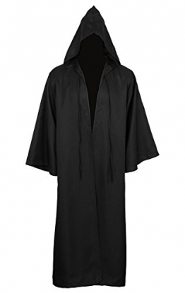 CUSFULL Mantello con Cappuccio Costume di Halloween Felpa con cappuccio Cappotto (M, Nera per adulti) - 1