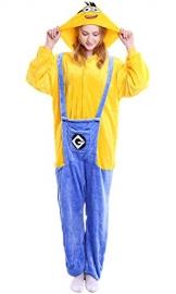 "Dolamen Adulto Unisex Kigurumi Pigiama Onesie, Donna Uomo Anime Cosplay Halloween Natale Party Costume Attrezzatura Sleepwear (Medium (61""-65""), Minions) - 1"