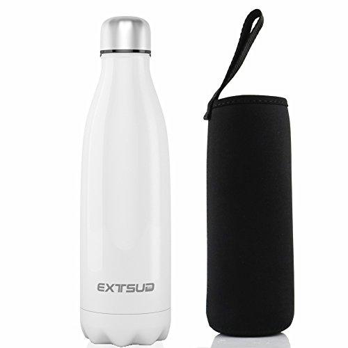 EXTSUD 500ml Bottiglia Termica in Acciaio Inox Borraccia Termos Mantiene 24 Ore Freddo 12 Ore Caldo Chiusura Ermetica Senza BPA Bottiglietta Sottovuoto per Outdoor Sport Inverno/Estate (Bianco) - 1
