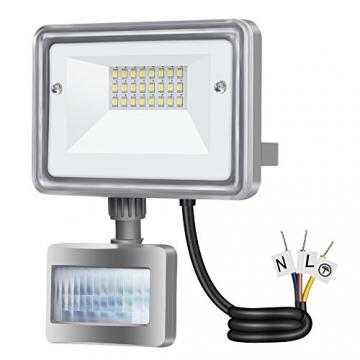 Gosun 10W Faro LED con sensore di movimento, DC12-24V, 950LM Luce Bianco Diurna 6000K Lampada esterni, luci di sicurezza con PIR, impermeabile IP65 per casa, giardino, garage, moderno floodlight - 1