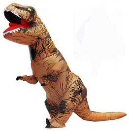 Halloween per adulti gonfiabile T Rex partito dinosauro costume divertente Dress Brown - 1