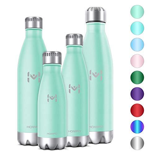 HOMPO Bottiglia Acqua in Acciaio Inox - Borraccia Termica 350ml/ 500ml/ 750ml/ 1L Isolamento Sottovuoto a Doppia Parete,Privo di BPA & Leakproof,Borracce per Bambini, Bici, Palestra - 1