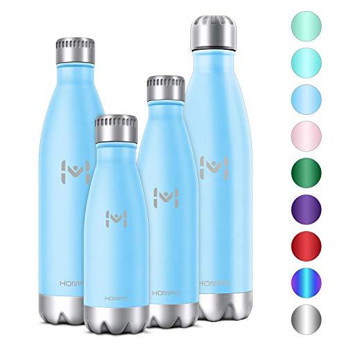 HOMPO Bottiglia Acqua in Acciaio Inox Borraccia Termica Isolamento Sottovuoto a Doppia Parete,Privo di BPA & Leakproof, Borracce per Bambini, Bici, Palestra(Blu, 500ml) - 1