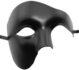 Kapmore Mens Travestimento Maschera Halloween Costumi Veneziano Maschera Partito Fai da te Handmade (One Size, Black) - 1