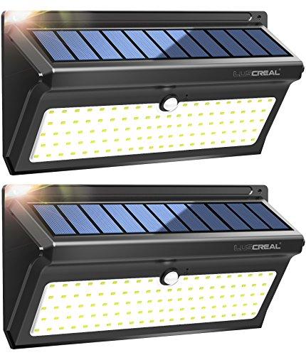 Lampada Solare da Esterno, 100 LED Super Luminosa Luci Solari con Sensore di Movimento 2400mAh, Wireless Impermeabile Lampade Solari a Led da Esterno con Grandangolo(2 Pacchi)-Luscreal - 1