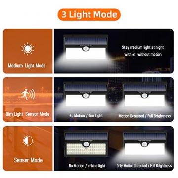 Luce Solare Led Esterno, Feob【2500 mAh】138 LED Lampada Solare con Sensore di Movimento Luci Solari da Parete Impermeabile IP65 Luci di sicurezza Solare LED con 3 Modalità-[2 Pezzi] - 2