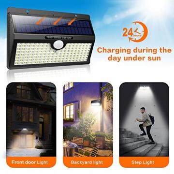 Luce Solare Led Esterno, Feob【2500 mAh】138 LED Lampada Solare con Sensore di Movimento Luci Solari da Parete Impermeabile IP65 Luci di sicurezza Solare LED con 3 Modalità-[2 Pezzi] - 4