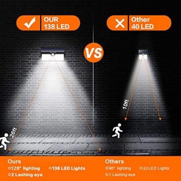 Luce Solare Led Esterno, Feob【2500 mAh】138 LED Lampada Solare con Sensore di Movimento Luci Solari da Parete Impermeabile IP65 Luci di sicurezza Solare LED con 3 Modalità-[2 Pezzi] - 5