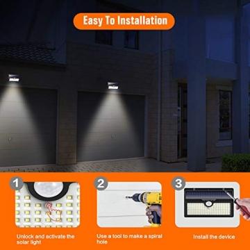 Luce Solare Led Esterno, Feob【2500 mAh】138 LED Lampada Solare con Sensore di Movimento Luci Solari da Parete Impermeabile IP65 Luci di sicurezza Solare LED con 3 Modalità-[2 Pezzi] - 6