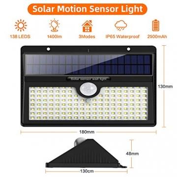Luce Solare Led Esterno, Feob【2500 mAh】138 LED Lampada Solare con Sensore di Movimento Luci Solari da Parete Impermeabile IP65 Luci di sicurezza Solare LED con 3 Modalità-[2 Pezzi] - 7
