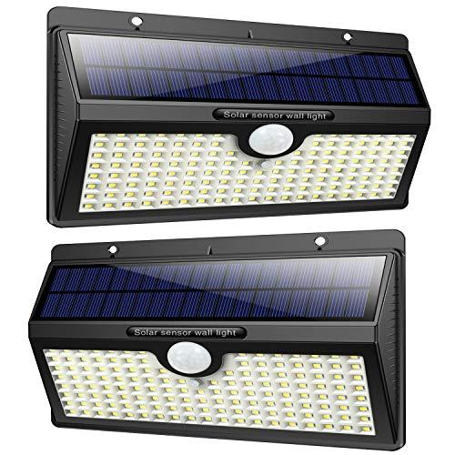 Luce Solare Led Esterno, Feob【2500 mAh】138 LED Lampada Solare con Sensore di Movimento Luci Solari da Parete Impermeabile IP65 Luci di sicurezza Solare LED con 3 Modalità-[2 Pezzi] - 1