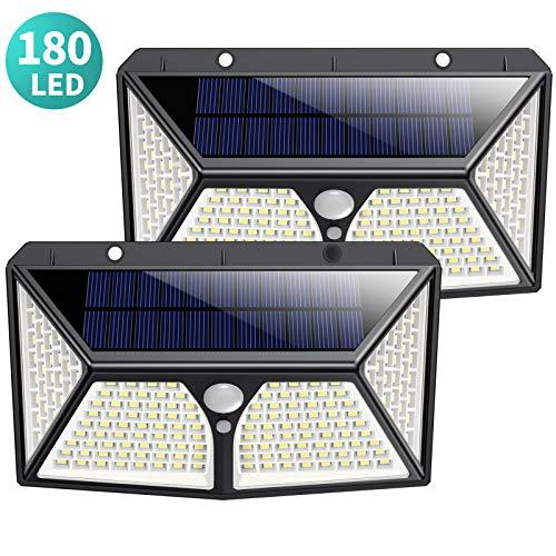 Luce Solare Led Esterno, Kilponen [2019 Ultimi Modelli 2500 mAh 180LED] Lampada Solare Esterno con Sensore di Movimento 270º Luci Esterno Energia Solare Impermeabile con 3 Modalità - 2 Pezzi - 1