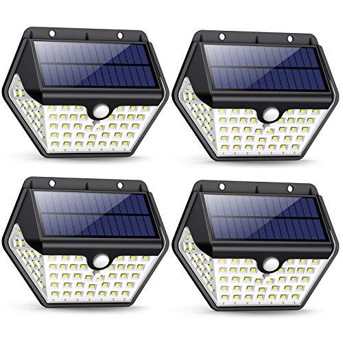 Luce Solare Led Esterno,【2019 Ultimi Modelli 60LED-800 lumen】iPosible Lampada Solare Esterno con Sensore di Movimento 2000 mAh Luci Esterno Energia Solare Impermeabile per Giardino,Parete- 4 Pezzi - 1