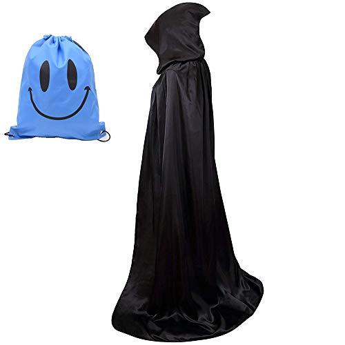 Myir Mantello con Cappuccio, Adulto Halloween Lungo Mantello Halloween Costume Unisex Strega Wicca Mantello (L, Nero) - 1