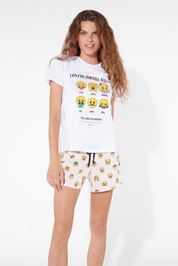 in cotone Pigiama corto da uomo Emoji