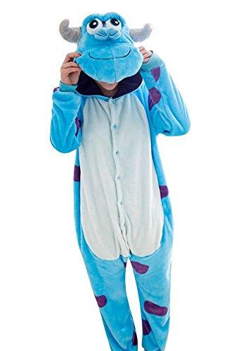 Pigiama Kigurumi Tuta Costume Animale per Carnevale, Halloween, Festa, Cosplay Monopezzo in Flanella, Morbido e Comodo (Altezza 159cm-168cm/M, Sullivan) - 1