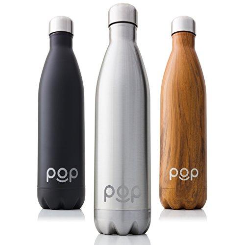 POP Bottiglia per Acqua Design, Mantiene Il Freddo per 24 Ore e Il Caldo per 12 Ore, Acciaio Inox Isolamento a Vuoto, Antigoccia e anticondensa, Collo Stretto e priva di BPA, 740 ml, Titanio - 1
