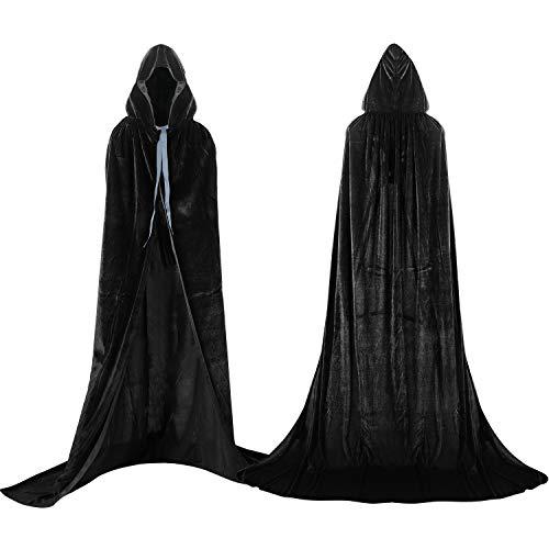 Proumhang Mantello con Cappuccio Lungo in Velluto Costume di Halloween Carnevale Natale Capo Masquerade Nero - 1